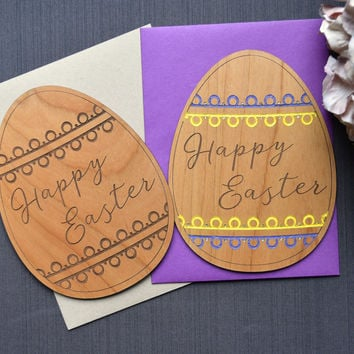 Easter Egg Wood Card - Easter Wishes Greeting Card - Limited Edition 1