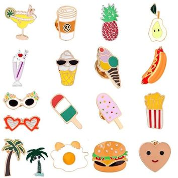 Cartoon Summer Enamel Pin Ice-Cream Juice Brooch Food Fruits Cups Heart Coconut Pineapple Jewelry Collar Denim Jacket Badge