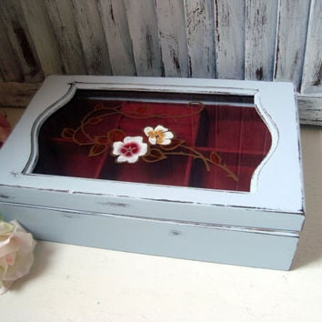 Gray Vintage Jewelry Box, Light Gray Small Wooden Jewelry Holder with Floral Glass, Cottage Chic Grey Jewelry Chest, Gift Ideas