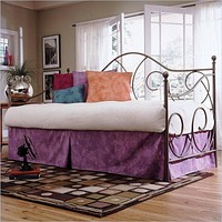 Twin size Metal Day Bed in Flint Finish with Link Spring - No Trundle