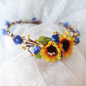 sunflower floral circlet yellow flower wreath hair by thehoneycomb