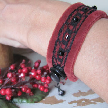 Red & Black Lace Cuff Bracelet, Adjustable Size, Repurposed Materials, Beading, Holiday Style, Christmas Fashion, Victorian, Steampunk,