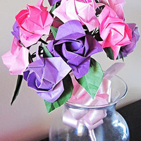Origami Bouquet Mother's Day Gift 12 Paper Roses Flower Bouquet for Get Well Gift Wedding Bouquet