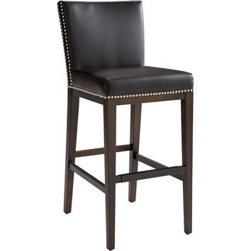 Vintage Bar Stool Brown Leather