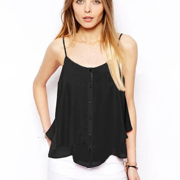 Strappy Chiffon Layered Top
