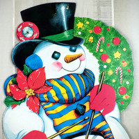 Vintage Die Cut Paper Holiday Snowman Ephemera Cut Out Christmas Wall Decoration