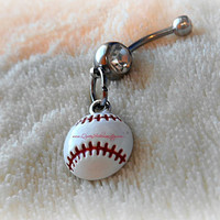 Cute Baseball or Softball Belly Ring, Baseball, Piercing,  Athletic, Athlete, Belly button, Navel, Summer, Beach, Ready to Ship