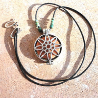 Sunflower Essential Oil Diffuser Locket, Silver Aromatherapy Necklace, Boho Earthy Jewelry