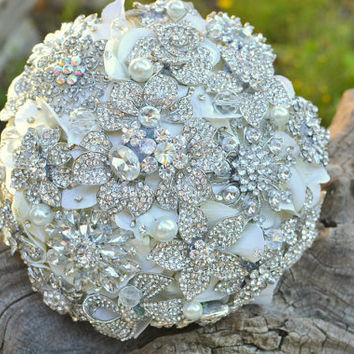 Deposit on a rhinestone jewel brooch bridal bouquet -- made to order wedding bouquet