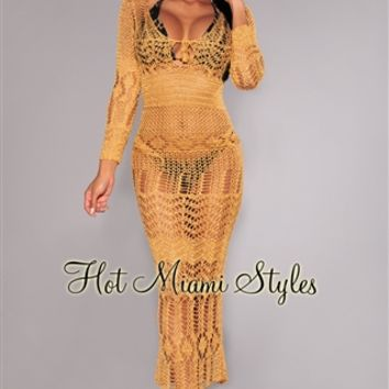 Gold Silky Crochet Cover-Up Long Sleeves Maxi Dress