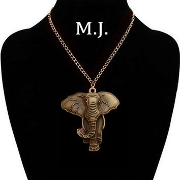 Vintage Gold Elephant Pendant Necklace