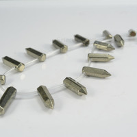 pyrite, graduated faceted point bead,