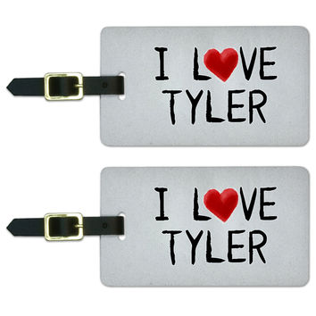 I Love Tyler Written on Paper Luggage Tag Set