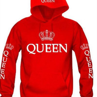 """QUEEN""""KING"" Print Hooded Sweater  B0013558"
