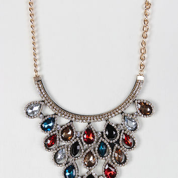 Tear Drop Gemstone Statement Bib Necklace Set