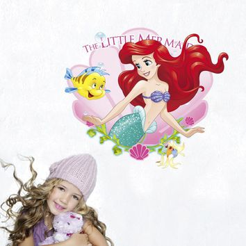 Disney girls Mermaid Princess sticker cartoon Children's bedroom decoration DIY Stickers waterproof pegatinas autocollant enfant
