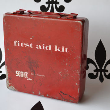 Vintage Red Scott First Aid Kit Metal RX Tin Industrial Rustic Rx Bathroom Decor Hospital Doctor Health