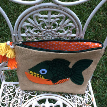 Tropical orange green fish hand appliqued on jute, zippered, handmade  clutch, one of a kind, decorated with yellow and orange tassels
