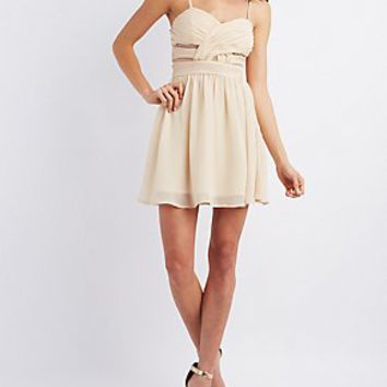 MESH PANEL SLEEVELESS SKATER DRESS