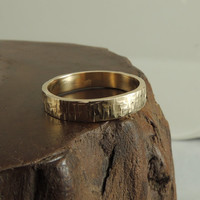 14k Gold Mens Wedding Band, Rugged Textured, Gold Mens Wedding Ring, Eco Friendly, Sustainable, Handmade Wedding Ring