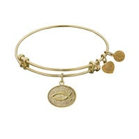 Non-Antique  Stipple Finish Brass Christian Fish Angelica Bangle, 7.25 Inches Adjustable