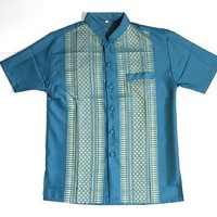 MEN CAMBODIA/THAILAND TRADITIONAL TEAL BLUE DRESS SHIRT, BRAND-NEW, SIZE MEDIUM