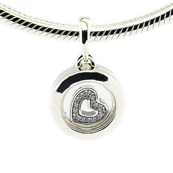 Authentic 925 Sterling Silver Small Size Floating Locket Charms Pendants fine jewelry Fit Necklaces Diy for Unisex PF454