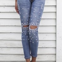 Rise Up Blue Pearl Trim Ripped Knees 5 Pocket Denim Pants Skinny Jeans