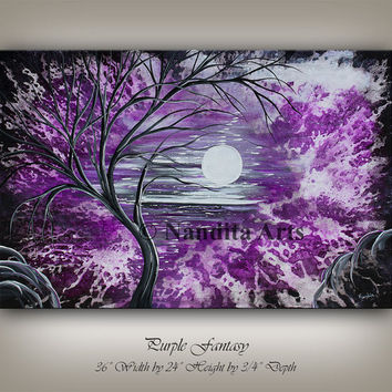 Original abstract painting art on canvas, MODERN ART, Purple art, Huge canvas art, Contemporary Art, Tree art Painting, Nandita Artwork