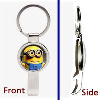 Despicable Me 2 Minion Dave Pennant or Keychain silver tone secret bottle opener