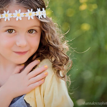 Yellow and white daisy flower headband from luxieblooms on etsy yellow and white daisy flower headband newborn toddler headband hippie or flower child mightylinksfo