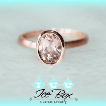 Morganite Solitaire Ring 1.4ct Oval Bezel Set Morganite Solitaire in 14k Matte Rose Gold Setting