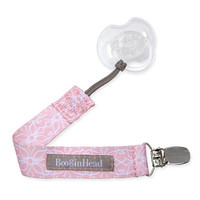 BooginHead Pacigrip Pacifier Clip - Pink & White Lotus Flower