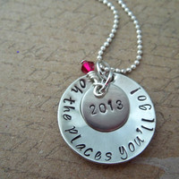 Graduation Gift Necklace - Oh the places you'll go - Hand stamped multi-layer - Personalized Necklace