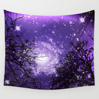 Trees, Stars and Lavender Skies Wall Tapestry by Minx267