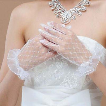 New 1Pair Party Sexy Dressy Women Lady Lace Gloves Mittens Accessories Sunscreen Summer Full Finger Girls Lace Gloves