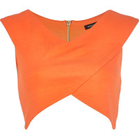 River Island Womens Orange wrap crop top