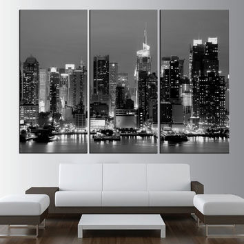 Black and white Canvas Art Print New York Night Large Wall Art New York canvas print, New York City night skyline Hudson river t391