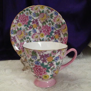 Rainbow Chintz Crownford Teacup, Saucer, Spring Floral Bone China, England, Vintage Footed Floral Chintz Collectible China, Lively Design