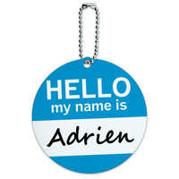 Adrien Hello My Name Is Round ID Card Luggage Tag