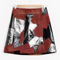 & Other Stories | Rodarte Patchwork Leather Skirt | Black/Red/Metallic