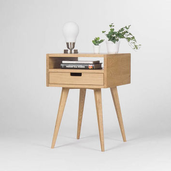 Nightstand, bedside table, end table, with one drawer and open shelf, mid century modern, made of oak wood