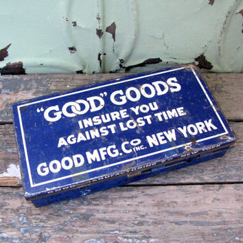 Vintage Good Goods Monel Bibb Screw Box, Industrial Metal Box, Stash Box, Plumbing Tools