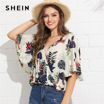 SHEIN Multicolor Vacation Boho Bohemian Beach Tropical Print Surplice Neck V Collar Blouse Summer Women Going Out Shirt Top