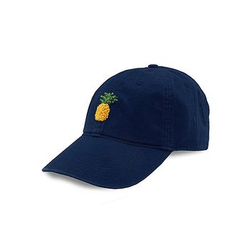 Pineapple Needlepoint Hat in Navy by Smathers & Branson