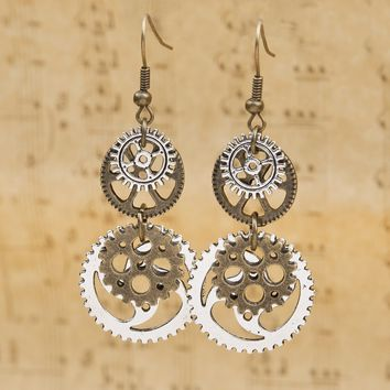 "Doreen Box Steampunk Earrings Antique Bronze Gear 60mm(2 3/8"") x 23mm( 7/8""),Post/ Wire Size: (21 gauge),1 Pair 2017 new"