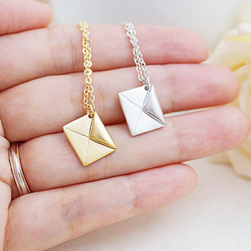Mini Envelope Charm Necklace Christmas Gift for her, Minimalist, mod modern style charm necklace
