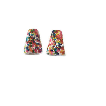 Candy Sprinkle Resin Triangle Earrings