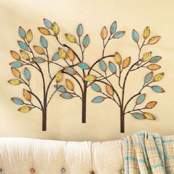 Wall Sculpture Tree Metal Large Leaves Blue Gold Yellow Teal Tan Modern Art NEW