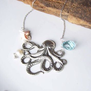 Etsy, Etsy Jewelry, Beaded Necklace, Octopus Necklace, Silver Octopus, Big Necklace, Blue Quartz, Shell Bead, Freshwater Pearl